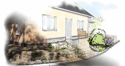 Gartenplanung-Gartengestaltung-Hoehenunterschied-Natursteinmauer